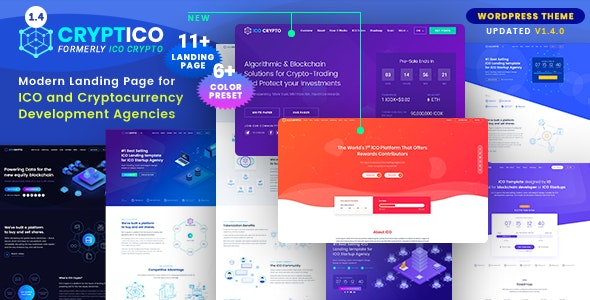 Cryptico - ICO Crypto Landing & Cryptocurrency WordPress Theme​ - Technology WordPress