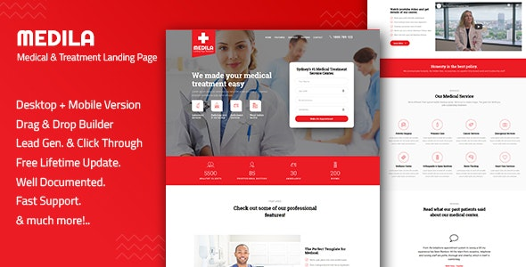 Medila - Medical Treatment & Health Care Landing Page Template - Health & Beauty Retail