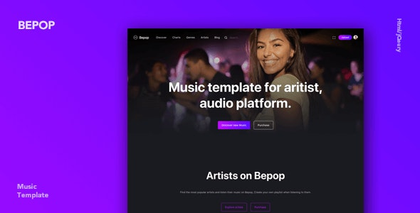Bepop - Non-stop Music Template - Music and Bands Entertainment