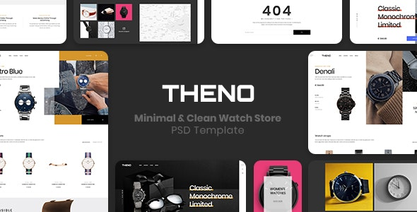 THENO –  Minimal & Clean Watch Store  PSD Template - Retail Photoshop