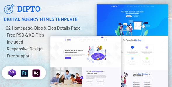 DIPTO - One Page Digital Agency html5 template - Creative Site Templates