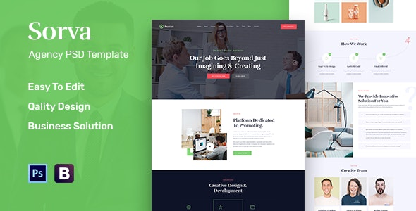 Sorva - Agency Landing Page PSD Template - Business Corporate