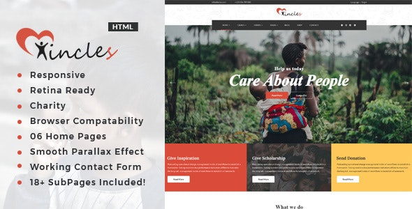Incles - Responsive HTML Template for Charity & Fund Raising - Charity Nonprofit