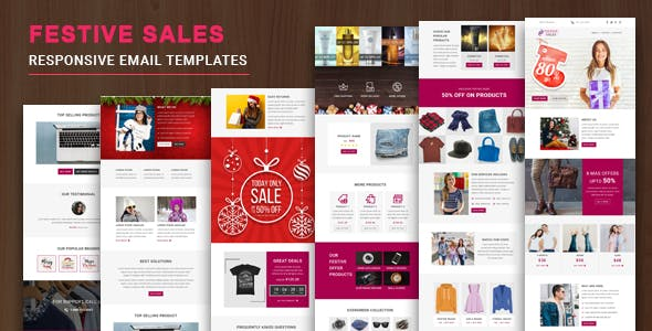 Festive Sales - Responsive Email Template with Online StampReady & Mailchimp Editors