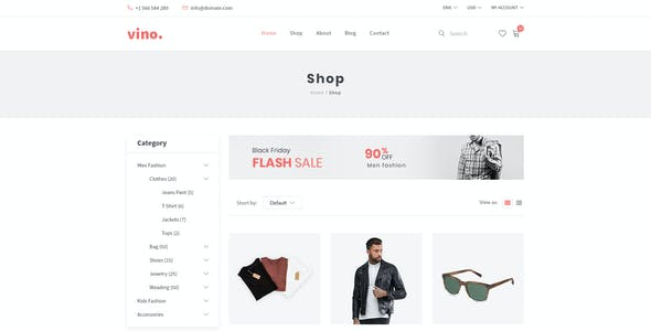 Vino – E-Commerce PSD Template