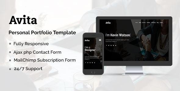 Avita - Personal Portfolio Template - Personal Site Templates