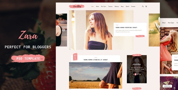 Zara - Simple and Minimal Blog Template - Personal Photoshop