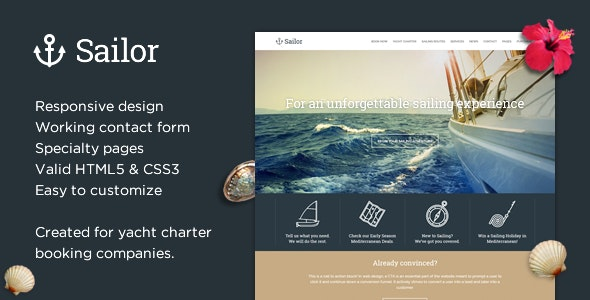 Sailor - Yacht Charter Booking HTML Template - Travel Retail
