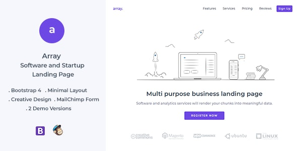 Array Minimal Landing Page Template - Landing Pages Marketing