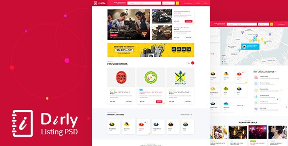 Dirly | Directory Listing PSD Template - Retail Photoshop