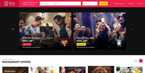 Dirly | Directory Listing PSD Template