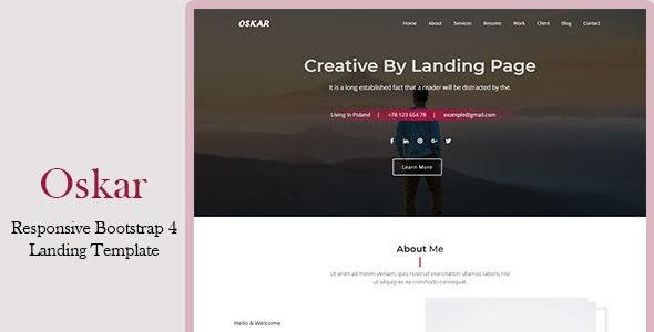 Oskar - Responsive Bootstrap 4 Landing Template - Marketing Corporate