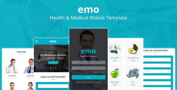 Emo - Health & Medical Mobile Template - Mobile Site Templates