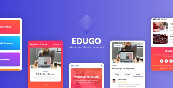 Edugo - Education Mobile Template - Mobile Site Templates