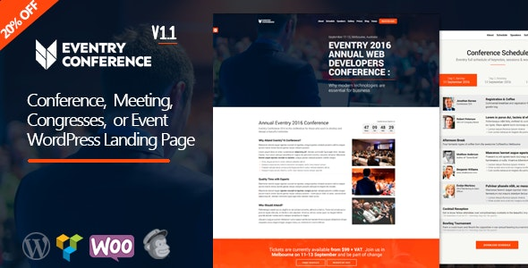 Eventry - Conference Meetup Landing Page WordPress Theme - Marketing Corporate