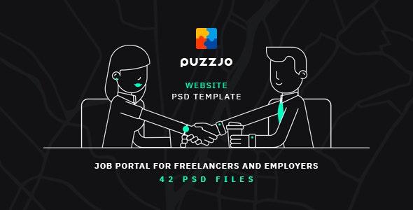 Puzzjo - Job Portal Website PSD Template - Photoshop UI Templates