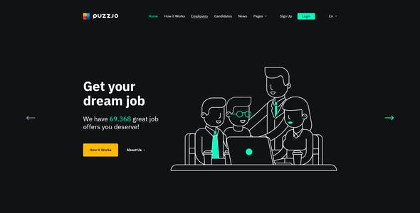 Puzzjo - Job Portal Website PSD Template