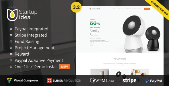 Startup Idea -  Crowdfunding theme with Payment Gateway and Project Management - Miscellaneous WordPress