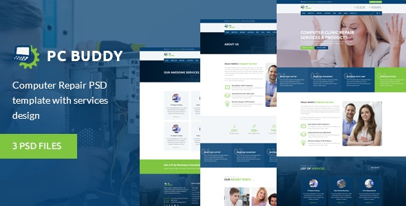 PcBuddy - Computer Repair PSD Template - Business Corporate