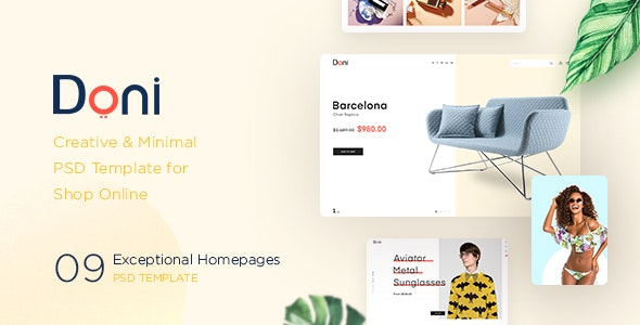 Doni – Creative & Minimal  PSD Template for  Shop Online - Retail PSD Templates