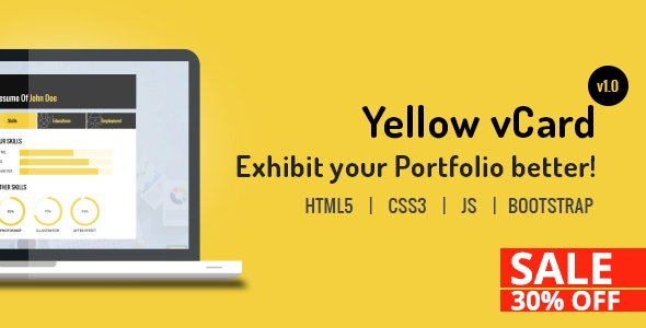 Yellow vCard Template - Virtual Business Card Personal