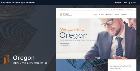 Oregon - Finance HTML Template - Business Corporate
