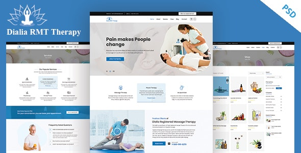 Dialia - Registered Massage Therapy PSD Template - Health & Beauty Retail