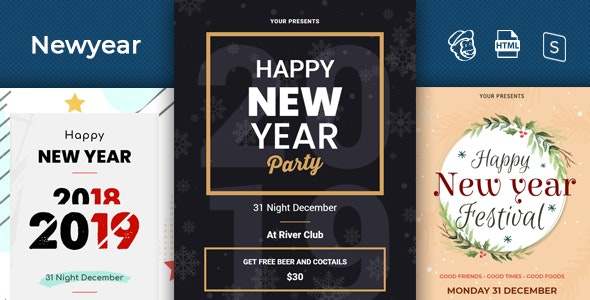 Newyear - Responsive Email + StampReady Builder - Newsletters Email Templates