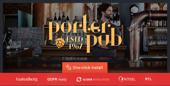 Porter Pub - Restaurant & Bar WordPress Theme - Restaurants & Cafes Entertainment