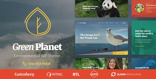 Ecology & Environment WordPress Theme - Green Planet