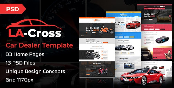 LA Cross Car Dealer PSD Template - Business Corporate