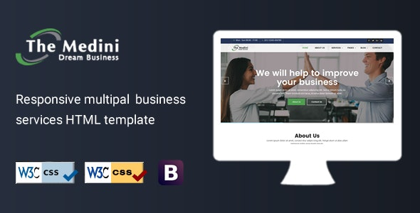 Medini - Business Professional Services HTML Template - Corporate Site Templates
