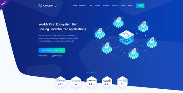 ICO Crypto – Bitcoin and Cryptocurrency ICO Landing Page PSD Template