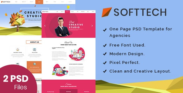 Softtech - Onepage PSD Template - Corporate Photoshop