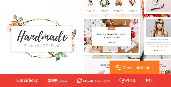 Handmade Shop - Handicraft Blog & Creative Store WordPress Theme - WooCommerce eCommerce
