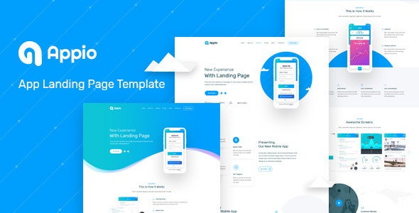 Appio Landing Page PSD Template - Software Technology