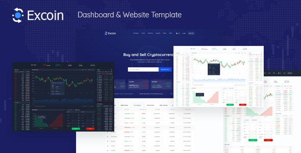 Excoin - Crypto Currency Trading Dashboard PSD Template - Technology Photoshop