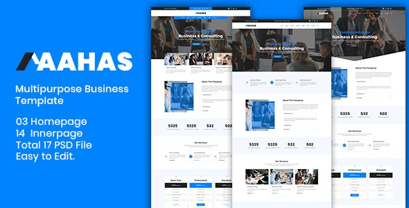 Aahas - Multipurpose Business Template - Corporate PSD Templates