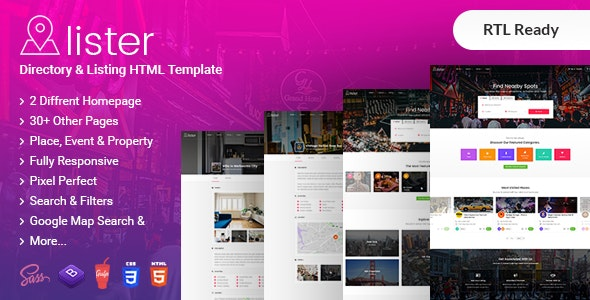 Lister - Directory & Listing HTML + RTL Template - Business Corporate