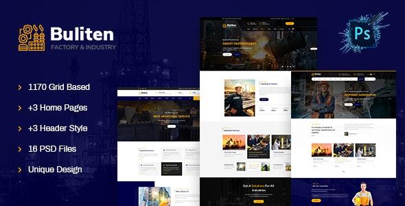 Buliten- Factory & Industry PSD Template - Business Corporate
