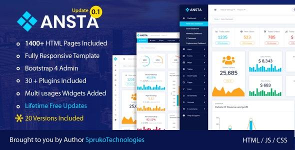 Ansta – Responsive Multipurpose Admin Dashboard Template. - Admin Templates Site Templates