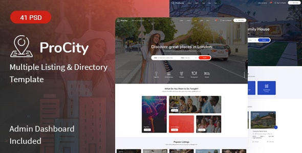 Procity - Multiple Listing & Directory PSD Template - Corporate Photoshop
