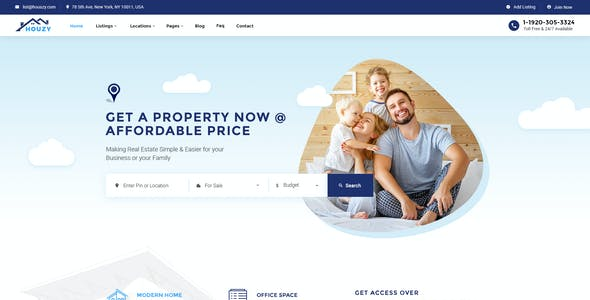 Houzy | Real Estate Listing PSD Template
