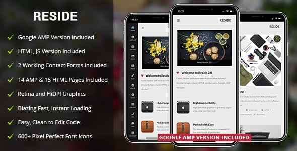 Reside Mobile and Google AMP Template - Mobile Site Templates