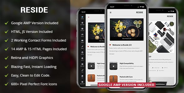 Reside Mobile and Google AMP Template