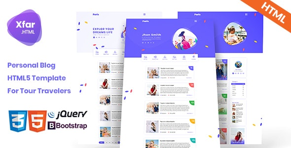 Xfar - Personal Tour Travelers Blog HTML5 Template - Personal Site Templates