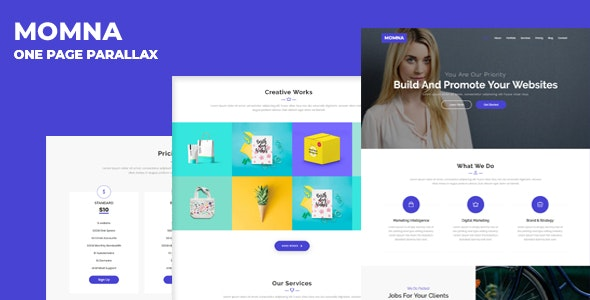 Momna - One Page Parallax - Technology Site Templates