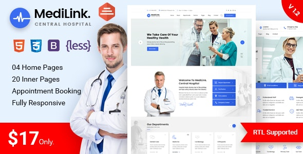 Medilink - Health & Medical Bootstrap 4 Template - Health & Beauty Retail