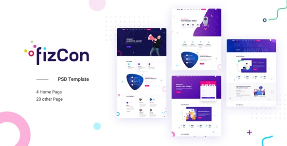 Fizcon - Event, Meeting, Conference PSD Template - Events Entertainment
