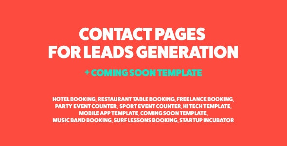 Jonny - Contact Page for Leads Generation & Coming Soon Template - Specialty Pages Site Templates